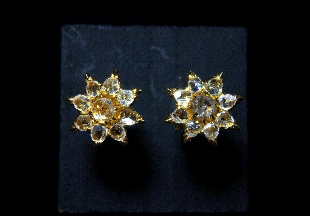 18k Antique Rose Cut Diamond Earrings