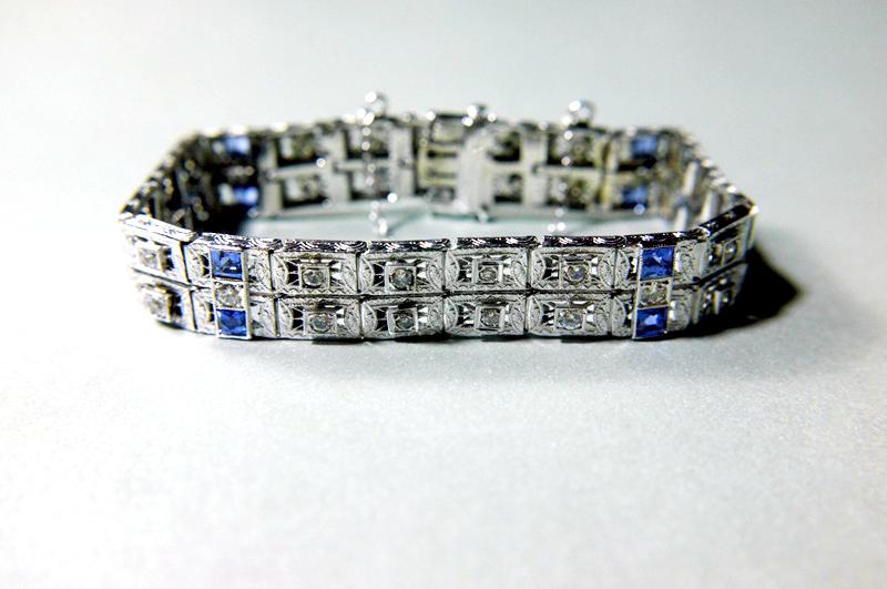 art deco filigree sapphire diamond bracelet