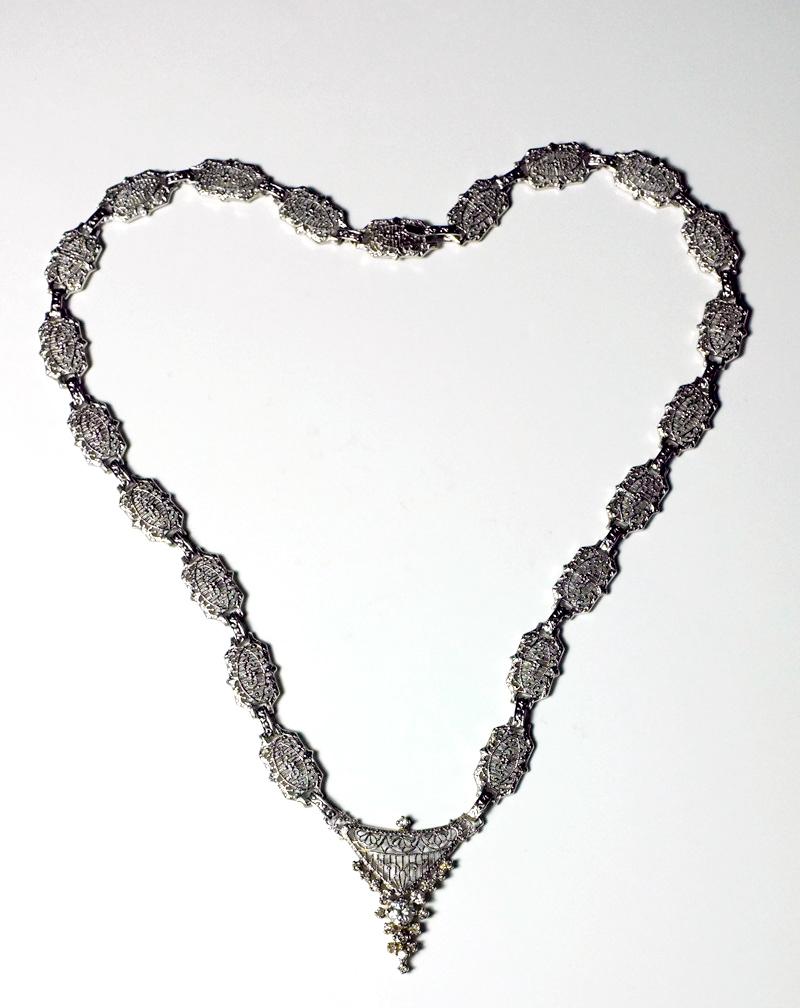 art deco diamond white gold necklace