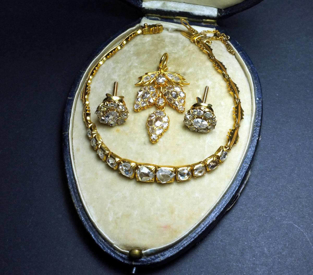 rose cut diamonds on stud earrings